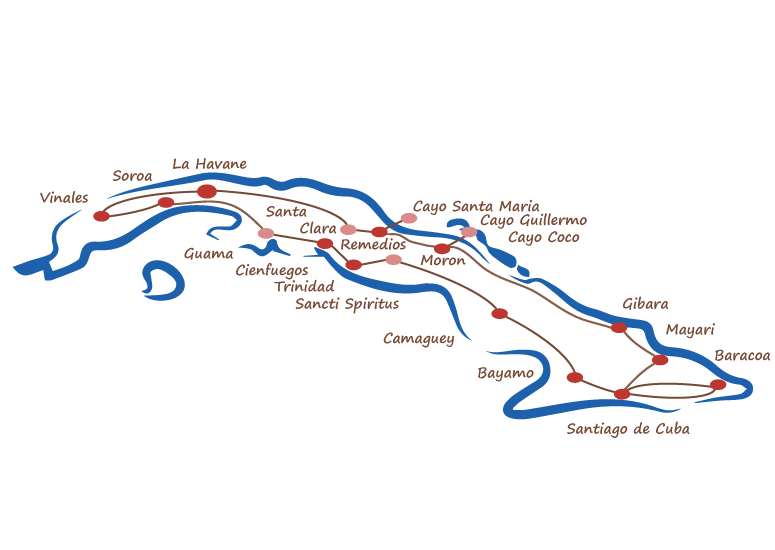 carte cuba circuit grand tour vieille américaine
